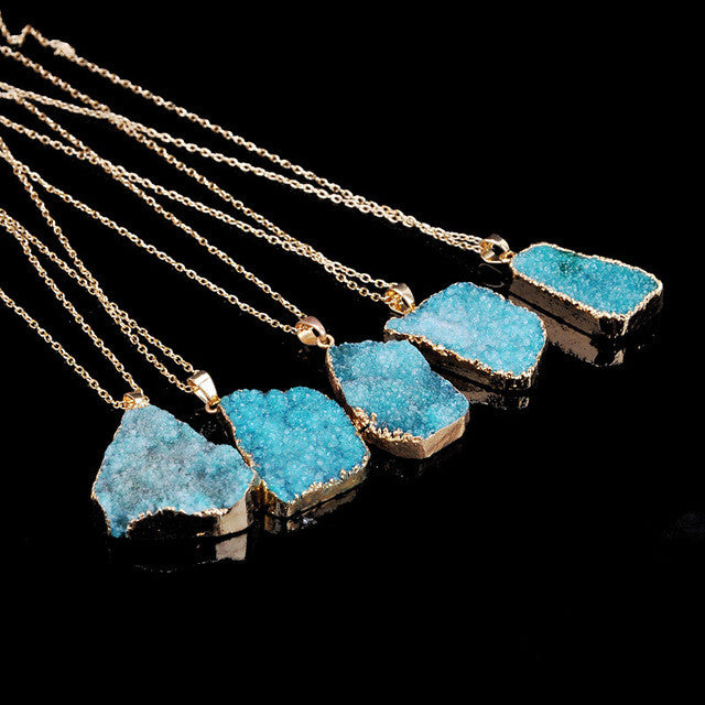 Irregular Natural Stone Blue Purple Quartz Turquoise Crystal Necklace Agate Slice Pendant Gold Plated Chain Necklace Jewelry
