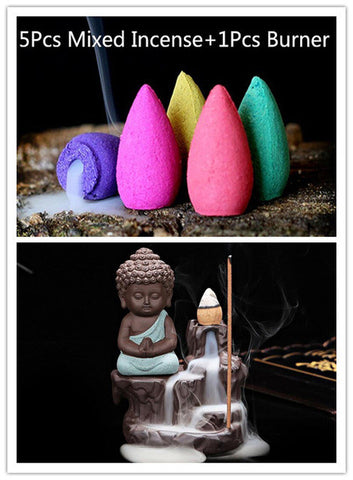 5Pcs Incense Cones + Burner Creative Home Decor The Little Monk Small Buddha Censer Backflow Incense Burner Home Office Teahouse