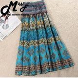 MWSFH Summer New Arrival Fashion Elastic Waist Bohemian Style Flower Printed Women Long Skirts Saia Longa Skirts Wnmens Clothes