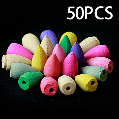 50Pcs Household Natural Reflux Tower Incense Tea Smoke Backflow Incense Or Gourd Burner Fragrant Reflux Aromatherapy Cones