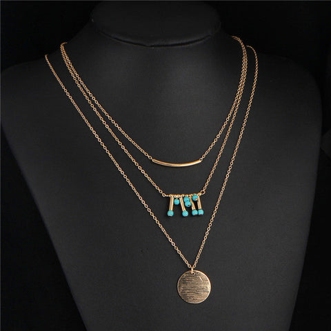 17KM Sexy Multi Layer Chain Necklace Gift Bohemia Tassel Maxi Chocker Gold Color 2016 Sweater Statement Necklaces for Women