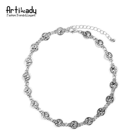 Artilady antic silver metal choker necklace punk star design necklaces for women party jewelry gift