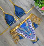 2017 New African Print Two-Pieces Bath Suits Bikini Set Sexy Geometric Swimwear Swimsuit Gold High Waist Swimming Suit