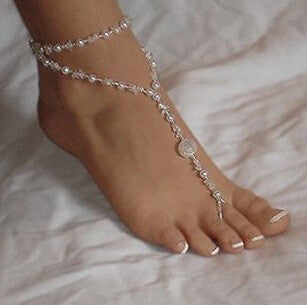 1 pcs Fashion Women Ankle Bracelet Beach Imitation Pearl Barefoot Sandal Tornozeleira Femininas Foot Jewelry Anklet Chain