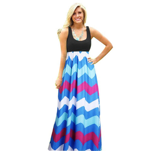 2016 Hot Sexy Women Dress O Neck Striped Print Maxi Long Dress Sleeveless Beach Summer Dresses Sundress