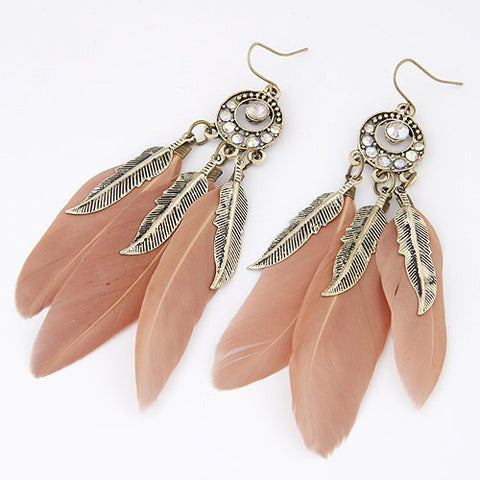 2017 Vintage Long Feather Earrings for Women Boucle d'oreille Fashion Leaf Feather Earring Brincos Jewelry Pendientes Bijoux
