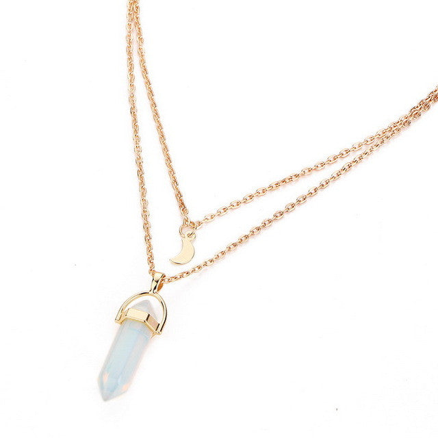 Steampunk Vintage 2 Layer Color Natural Stone Pendants Choker Necklaces Gold Color Moon Necklace For Women Jewelry Collier Femme