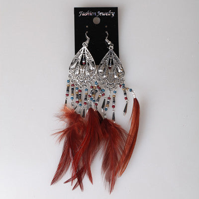 Brown Color Long Feather Exaggeration Design Fashionable Women Earrings Newest