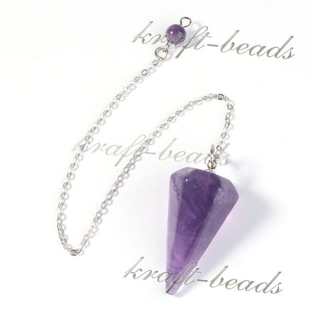UMY Trendy Hexagon Pyramid 7 Stone Beads Chakra Pendulum Natural Amethyst Pendants Charms Jewelry