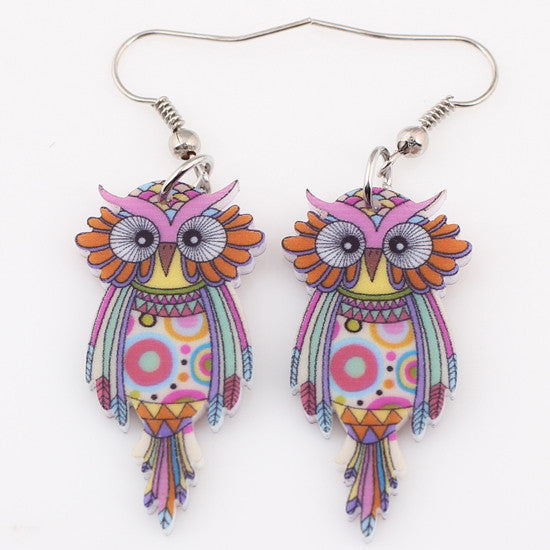 Bonsny Drop Owl Earrings Acrylic Long Big Dangle Earrings 2016 News Spring Summer Girls Women Jewelry Accessories Fashion Styles
