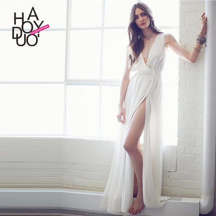 Haoduoyi  Womens 2016 Summer Sexy White Slim Plus Size Maxi Dress Thigh High Split Sleeveless Party Long Dresses  for wholesale