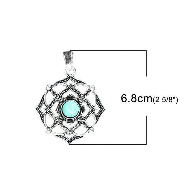 8SEASONS Alloy Chakra Pendants Flower Antique Silver Green Created Turquoise Hexagram Sun Ajna Vishuddha Nabhi Sahasrara 2 PCs
