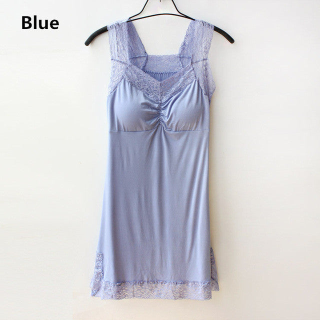 7 Colors Quality Modal Nightgown Women Sleepwear Lace Solid V-Neck Nightdress Sleepshirts Camisolas De Dormir#K12