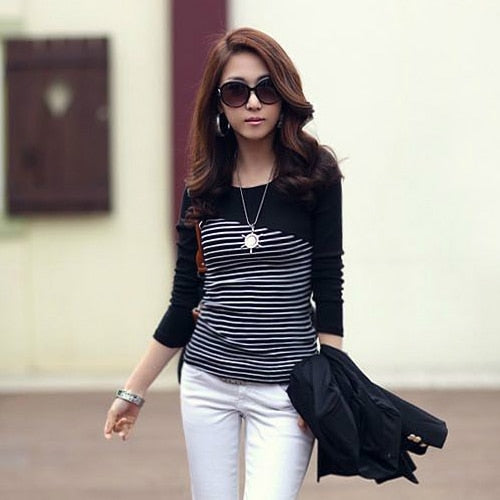 T Shirt Women Clothes 2017 Striped Tshirt Long Sleeve Tops Womens Clothing T-Shirts Cotton Casual Tee Shirt Femme Poleras Mujer