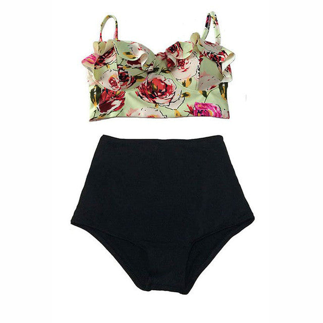 High Waist Swimsuit Bikini Women 2017 Push Up Swimwear Female Sexy Bikini Set Beach Wear Vintage Bathing Suit Retro Floral Print