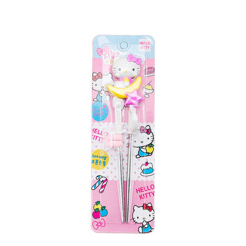 Hello Kitty Training Chopsticks or Spoon for Kids Children Baby Learning tools Cartoon Pink metal Enlightenment Tableware DF