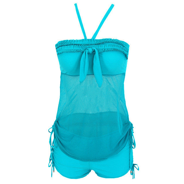 Sexy Two-Piece Suit Tankini Swimsuit for Girls Backless Swimwear Female Solid Bathing Suit Vintage Beach Wear Push up Swimwear