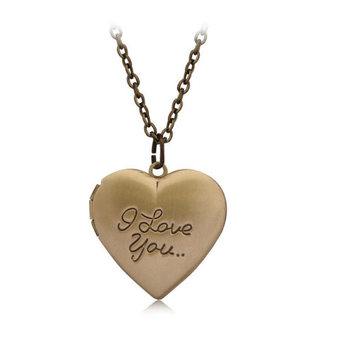 """I love you"" Carved 6 Colors DIY Love Heart Secret Message Locket Necklace Pendant Vintage Gift For Lover Couples Custom Message"