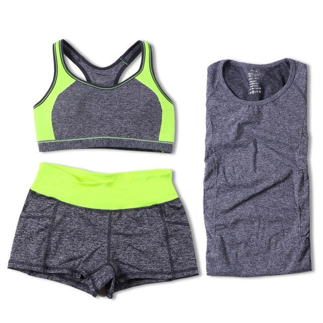 92091e7e53 ... B.BANG Women Yoga Sets Running Sports Bra + T-Shirt +Shorts Set ...
