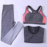 B.BANG 3 Pieces Women Yoga Sets Bra + Pants + Shirt Women Sports Sets for Gym Running Clothing Woman Fitness Clothing