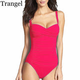 Trangel One Piece Swimsuit Plus Size Swimwear Women 2017 Summer Beachwear Push Up Bathing Suits Retro Swim Wear Monokini