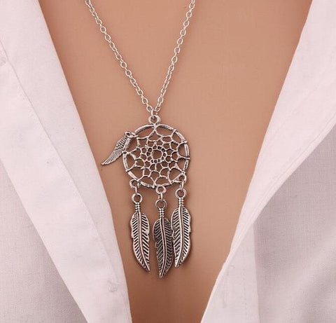 2016 Trendy Bohemian Style Wing Pendants Dream Catcher Feather Wings Shaped Pendant Necklace Charm Sweater Chain Gifts For Women