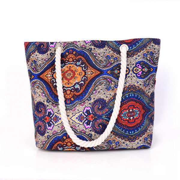 New Women Handbag Canvas Floral Printing Shoulder Beach Bags Casual Female Tote Shopping Bag Bolsa Feminina  2017