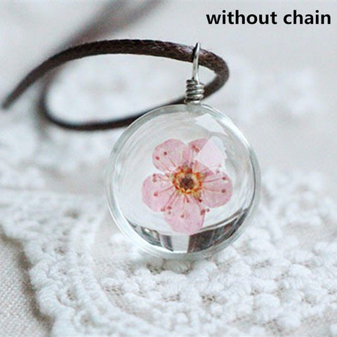 2016 necklace fashion jewelry crystal glass ball necklaces dandelion daffodils clover necklace pendant  for women gift