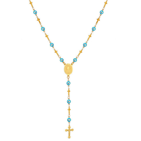 U7 Turkish Jewelry Blue Evil Eye Necklaces For Women 2016 Trendy Stainless Steel Saint Benedict Rosary Cross Necklace N564