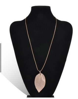 2016 Fashion Pink Black Gold Gray Natural Real Leaves Leaf Pendant Long Sweater Snake Chain Necklace For Women Jewelry