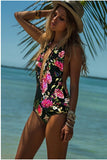 2016 Print Floral Sexy Backless Monokini,One-piece Petal Multicolor Swimwear Printing Flower Swimsuit Deep V Halter Bathing Suit