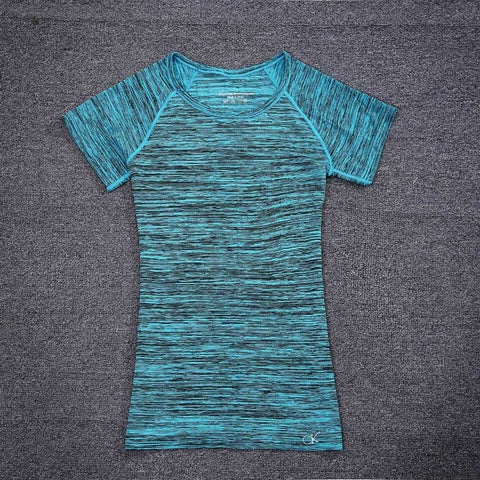 2016 New Workout Clothes Women High Elastic Spring Summer Short-Sleeved T-shirt Aerobics Clothes T Shirt Women Tops Blusas Women