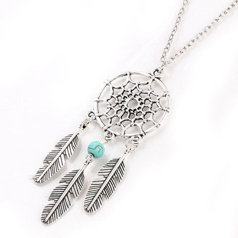 Ancient Silver Color Alloy Girl Chian necklaces For Women Vintage Korea Dream Catcher Leaves Pendant Necklace  Jewelry collares