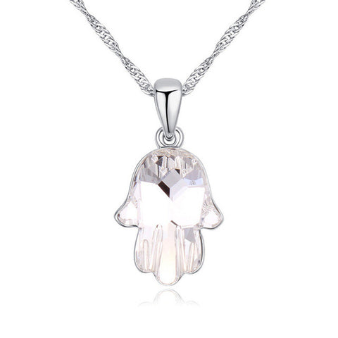 100% Original Crystals From SWAROVSKI Rhodium Plated Fatima Hand Necklaces&Pendants Bijoux For Women Best Gift