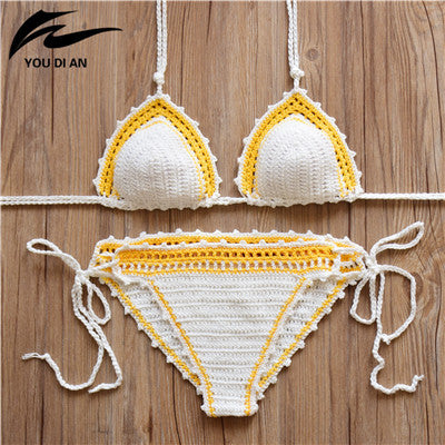 2016 Crochet Swimwear beach suit Sexy Handmade Crochet Bikinis women crochet Swimsuit Brazilian biquini swimming suit
