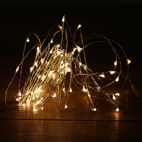 10M 100LED LED String Lights Outdoor Christmas Fairy Lights Warm White Silver Wire LED Starry Lights DC 12V Wedding Decoration