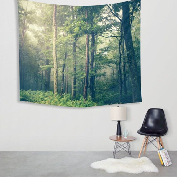 150X130cm Polyester Forest Wall Hanging Tapestry Throw Mat Bedspread Blanket Rug Home Bedroom Rug Decor Yoga Mat Picnic Cloth