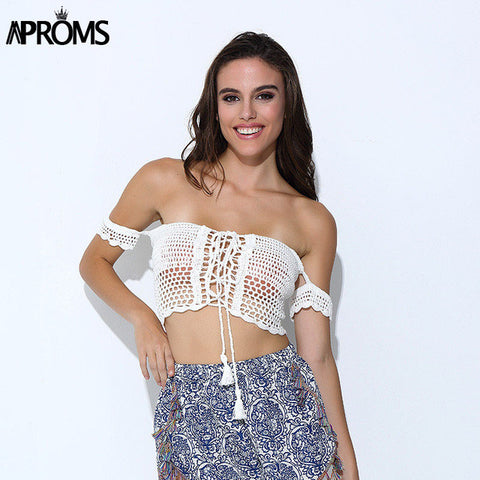 Aproms Sexy Knitted Crochet  White Crop Tops Bikini Beachwear 90's Girls Casual Lace Up Off Shoulder Bikini Bra Tank Top Cropped