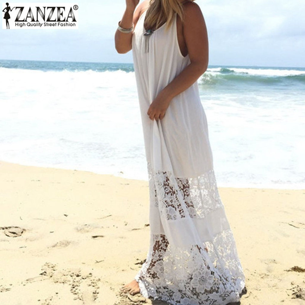 ZANZEA Women 2017 Summer Lace Casual Loose Long Maxi Solid Dress Sexy Strapless Beach Dresses Plus Size Sleeveless Vestidos