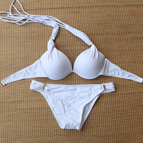 2017 Bright Halter Bikinis Women Swimsuit Push Up Swimwear Sexy Mini Micro Bikini Brazilian Bandeau String Bathing Suit Swim