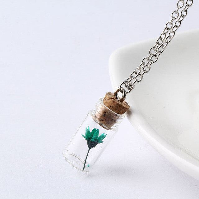 2017 Hot Sale Fashion Jewelry Necklace Dry Flowers Plants Pendant Wishing Bottle Necklaces Multi-colors Gift Choker Women NS2230
