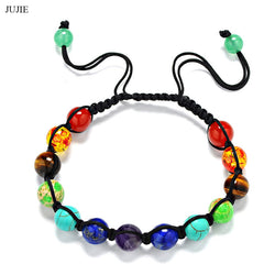 JUJIE Nature Stone Bracelets For Women 2016 Brand Sparkling Crystal Yoga 7 Chakras Healing Balance Beads Bracelets Men Gifts