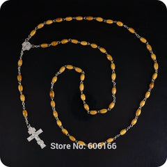 2016 NEW Design Orthodox Wood Rosary Beads Cross Pendant Necklace Fashion Religious jewelry