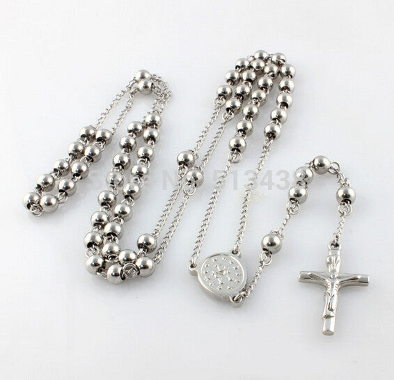 5pcs in bulk Thin 4mm  bead  religious crucifix  Cross Pendant JESUS Rosary Necklace 316L Stainless Steel Jewelry Unisex