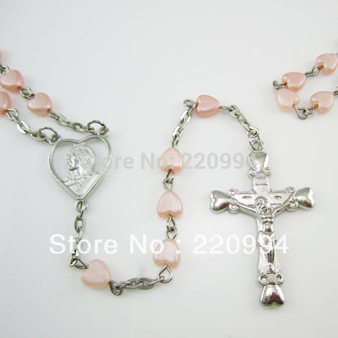 12pcs of Pink Heart Shaped Plastic Bead Rosary Necklace