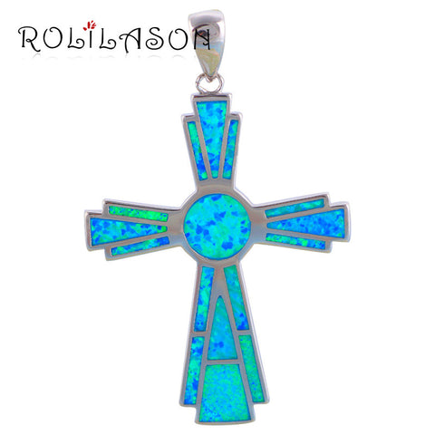 5.46g cross pendant for women new arrival Blue Fire Opal popular Silver Stamped Pendant Fashion jewelry OP524