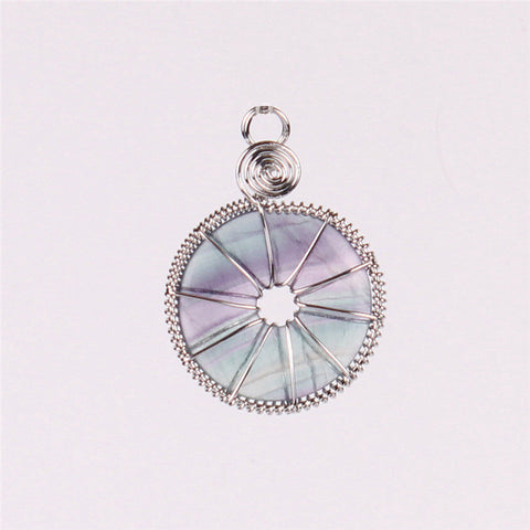 2016 Latest Wire Wrapped Rose Quartz Crystal Green Aventurine Flourite Flat Round Beads Stone Ping Buckle Natural Charm Pendants