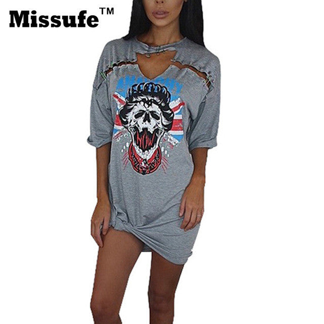 Missufe Print Sexy Choker Neck Lace Up Mini Women Dress 2017 Vestido Short Sleeve Casual Night Club Party Tshirt Summer Dresses