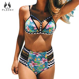 2017 Sexy Floral Stripe Brazilian Swimsuit Bandage Biquini Beach Wear Swim Bathing Suit Swimwear Women High Waist Push Up Bikini