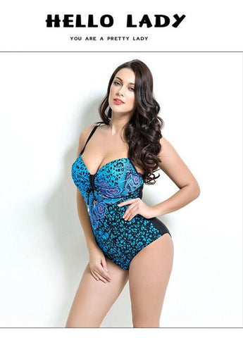 2017 Summer Style Womens Plus Size One Piece Swimsuit Print Swimwear Padded Monokini Women Bathing Suits Large Bust Swimsuits